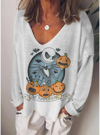 Print V-Neck Long Sleeves Casual Halloween Knit T-shirts
