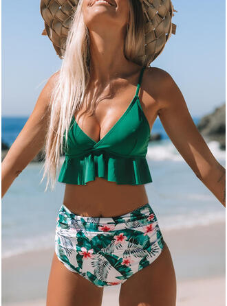 Impresión Empujar Volantes Correa Cuello en V Lindo Bikinis Trajes de baño