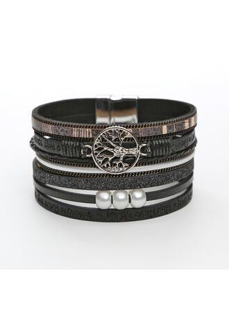 Klassisk stil Skiktad Legering Fauxen Pärla Läder Rp Kvinnor Armband