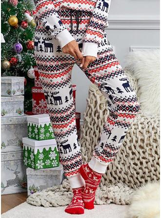クリスマス 印刷 鹿 長いです カジュアル パーティー プラスサイズ パンツ