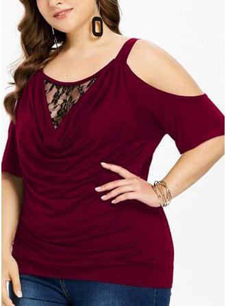 Spitze Einfarbig Schulterfrei Kurze Ärmel Lässige Kleidung Elegant Große Größen Blusen