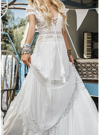 Lace/Solid Short Sleeves A-line Party/Elegant/Vacation Maxi Dresses