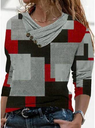 Trozos de color Impresión Geométrico Cuello en V Manga Larga Camisetas
