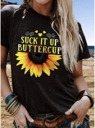 Sunflower Print Round Neck Short Sleeves T-shirts