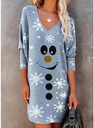 Minta Hosszú ujjú Ingruha Térd feletti Karácsony/Hétköznapokra T-shirt φορέματα