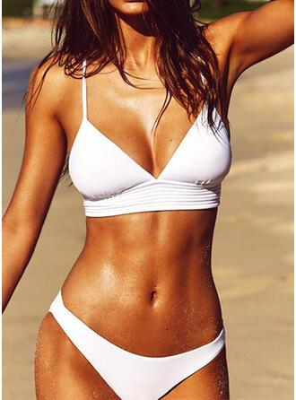 Ensfarget Stropp V-hals Sexy Frisk Bikinier Badedrakter