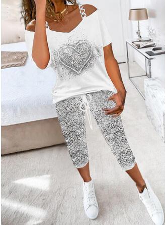 Impresión Corazón Casual Deportivo Tallas Grande cordraystring Pantalones Conjuntos de dos piezas