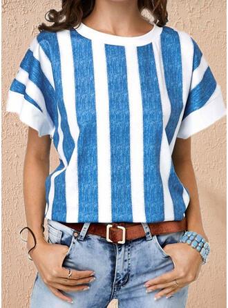 Rand Rund-ringning Korta ärmar T-tröjor