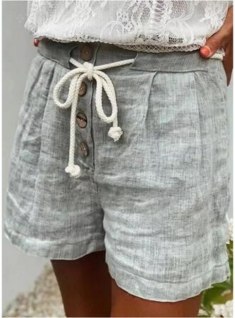 Sólido Por encima de la rodilla Casual cordraystring Pantalones Pantalones cortos