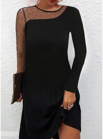 Sólido Manga Larga Vestidos sueltos Sobre la Rodilla Pequeños Negros/Elegante Vestidos