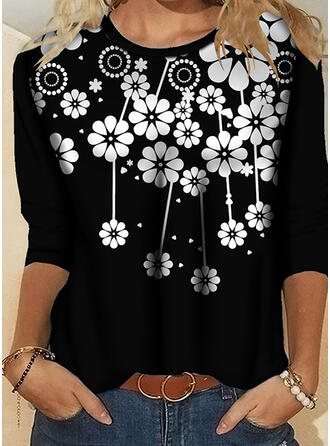 Floral Impresión Cuello Redondo Mangas 3/4 Camisetas
