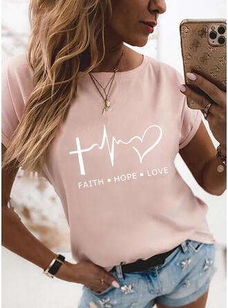 Figur Hjärta Print Rund-ringning Korta ärmar T-tröjor