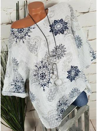 Květiny Kulatý Výstřih 1/2 rukávy Neformální Bluze