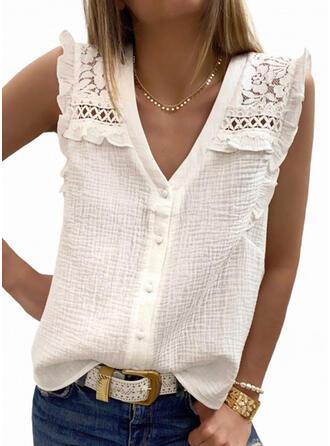 Sólido Encaje Cuello en V Sin mangas Con Botones Casual Camisetas sin mangas
