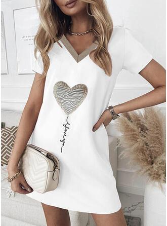 Impresión/Corazón/Carta Manga Corta Tendencia Sobre la Rodilla Casual Camiseta Vestidos