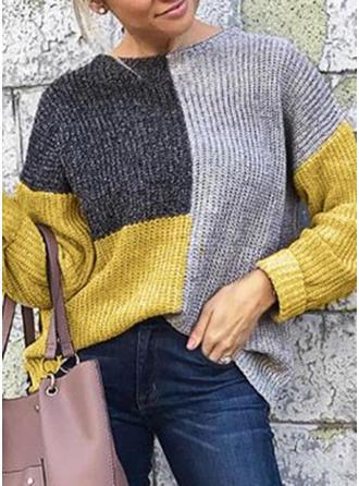 Bloque de Color Acanalado Punto Grueso Cuello Redondo Suéteres