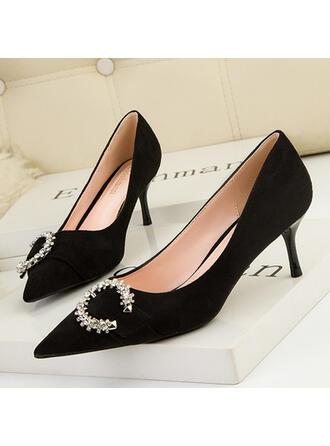 De mujer PU Tacón stilettos Salón Tacones con Rhinestone Color sólido zapatos