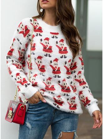 Impresión Punto Grueso Cuello Redondo Suéter de Navidad Feo
