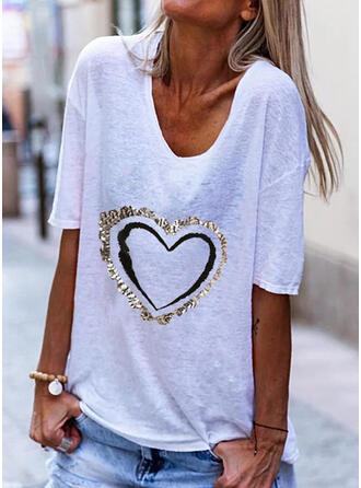 Hjärta Print V-ringning 1/2 ärmar T-tröjor