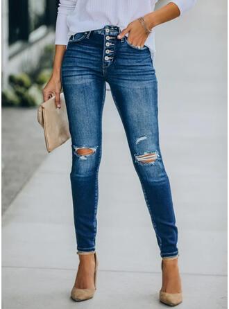 Dlouho Neformální Plus velikost hlubokým výstřihem patch Bandáž Kalhoty Denim & Džíny