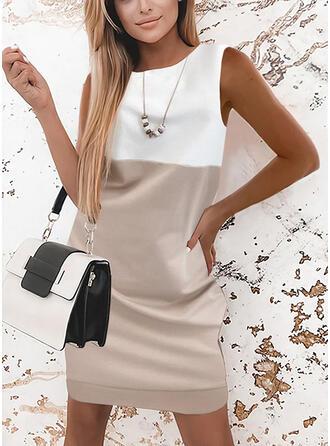 カラーブロック ノースリーブ シフトドレス 膝上 エレガント ドレス