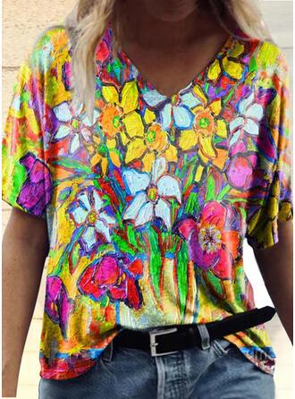 Kwiatowy Nadruk Dekolt w kształcie litery V Krótkie rękawy T-shirty