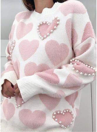 Nadruk Gyöngyös Καρδιά Kerek nyak Hétköznapokra πουλόβερ