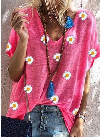 Floral Impresión Cuello en V Manga Corta Camisetas