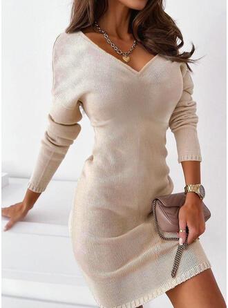 固体 Knit 長袖 ドロップショルダー シースドレス 膝上 カジュアル セーター ドレス