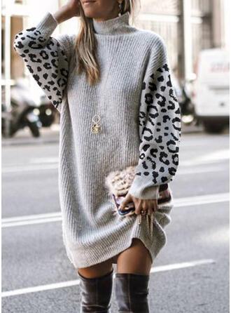 Trozos de color Leopardo Cuello Alto Casual Vestido de Suéter