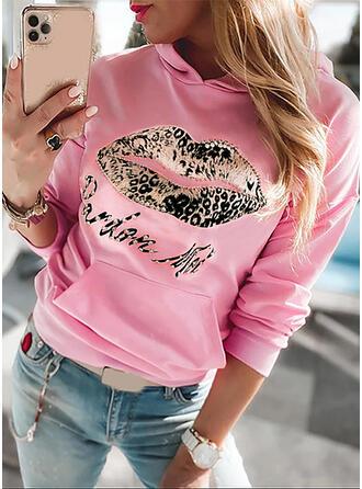 Print Leopard Letter Sequins Long Sleeves Hoodie