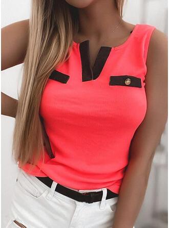 Χρώμα μπλοκ V-nyak Αμάνικο Μπλουζάκια