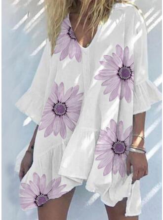 Impresión/Floral Mangas 3/4/Mangas Acampanadas Tendencia Sobre la Rodilla Casual/Vacaciones Vestidos