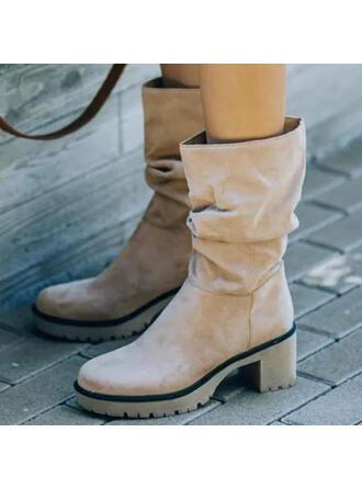 De mujer Ante Tacón ancho Botas Botas de invierno con Color sólido zapatos