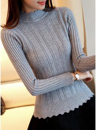Sólido Acanalado Cuello de Soporte Suéteres
