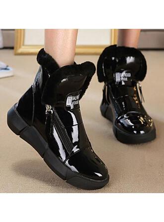 婦人向け PU フラットヒール ブーツ アンクルブーツ とともに ソリッドカラー 靴