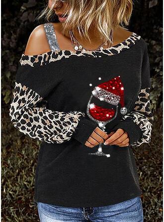 Cekiny lampart Na jedno ramię Długie rękawy Casual Boże Narodzenie Bluzki