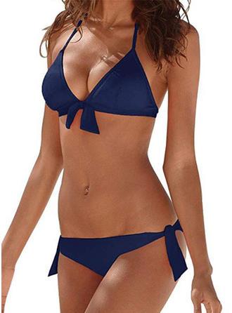 Color Sólido Cintura Baja Anudado Sin Mangas Sexy Bikinis Trajes de baño