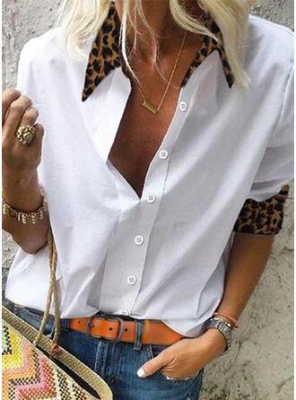 Labor de retazos Leopardo Solapa Manga Larga Con Botones Casual Blusas