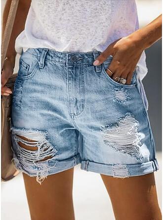 Sólido Por encima de la rodilla Casual Clásico Tallas Grande Bolsillo rasgados Botones Pantalones Pantalones cortos Vaqueros