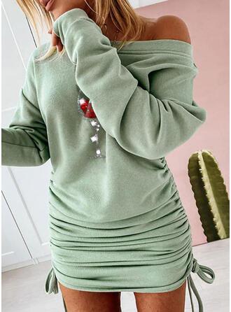 Flitterek Hosszú ujjú Testre simuló ruhák Térd feletti Karácsony/Hétköznapokra Bluza φορέματα