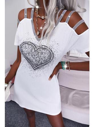 印刷/ハート スパンコール 半袖 冷たい肩の袖 シフトドレス 膝上 カジュアル チュニック ドレス