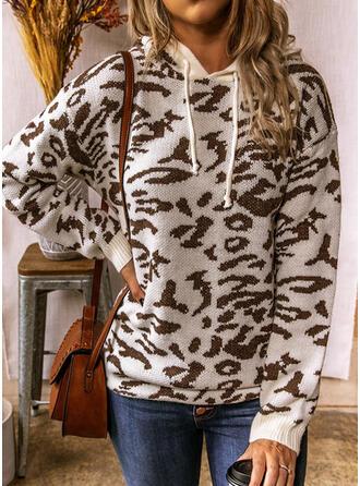 Leopardo Capucha Casuales Suéteres