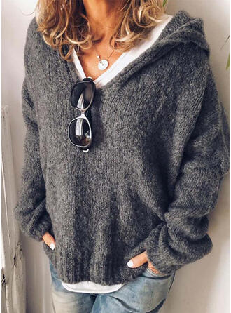 Solid Chunky knit Hooded Sweaters
