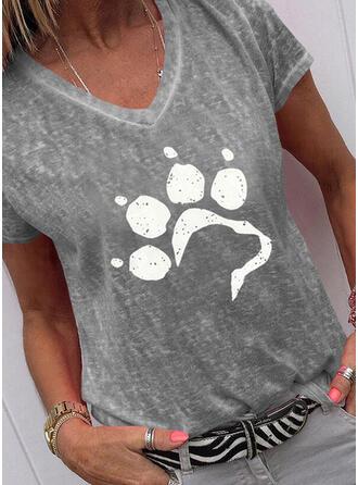 Animaliska Tryck V-ringning Korta ärmar T-tröjor