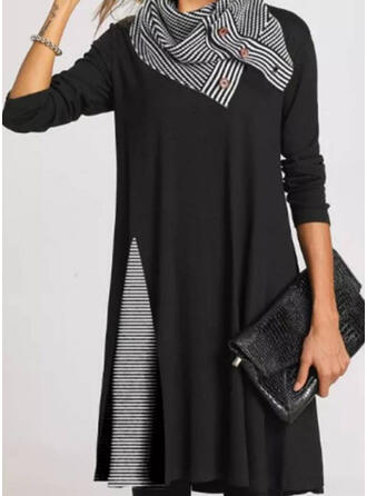 Color Block/Striped Long Sleeves Shift Above Knee Casual Tunic Dresses