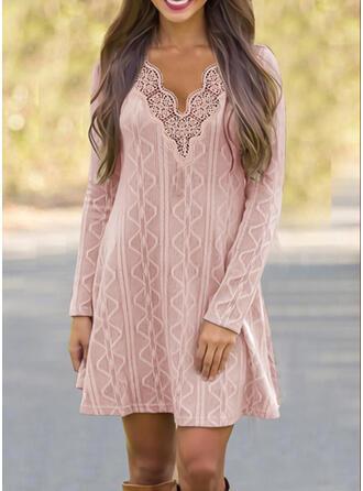 Sólido Encaje/Tejido Manga Larga Vestidos sueltos Sobre la Rodilla Casual Suéter Vestidos