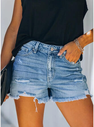 Shirred Tassel Sexy Vintage Shorts Denim & Jeans