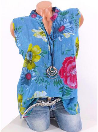 Impresión Floral Cuello en V Sin mangas Con Botones Casual Camisetas sin mangas