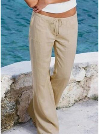 Kieszenie Marszczona Duży rozmiar Długo Boho Nieformalny Długi Spodnie